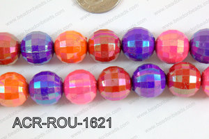 Acrylic Round faceted 16mm multi ACR-ROU-1621