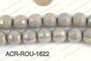 Acrylic Round faceted 16mm grey ACR-ROU-1622