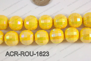 Acrylic Round faceted 16mm yellow ACR-ROU-1623