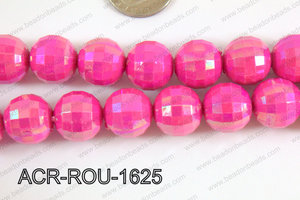 Acrylic Round faceted 16mm dark pink ACR-ROU-1625
