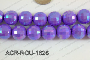 Acrylic Round faceted 16mm purple ACR-ROU-1626