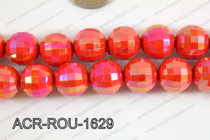 Acrylic Round faceted 16mm red ACR-ROU-1629