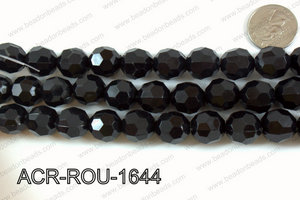 Acrylic Round faceted 16mm black ACR-ROU-1644