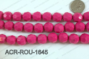 Acrylic Round faceted 16mm dark pink ACR-ROU-1645
