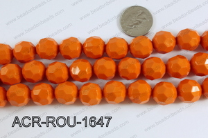 Acrylic Round faceted 16mm orange ACR-ROU-1647