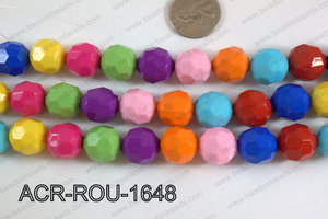 Acrylic Round faceted 16mm multi ACR-ROU-1648