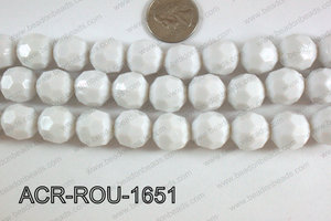 Acrylic Round faceted 16mm white ACR-ROU-1651