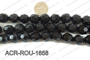 Acrylic Round faceted 16mm black  ACR-ROU-1658