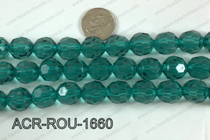 Acrylic Round faceted 16mm emerald  ACR-ROU-1660