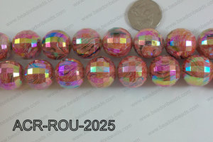 Acrylic Round faceted 20mm Red ACR-ROU-2025