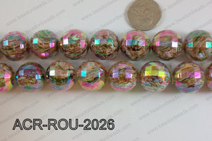 Acrylic Round faceted 20mm Brown ACR-ROU-2026
