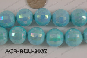 Acrylic Round faceted 20mm light blue ACR-ROU-2032