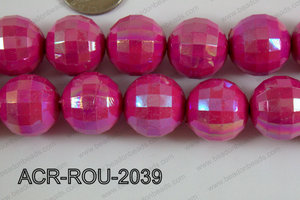 Acrylic Round faceted 20mm dark pink ACR-ROU-2039