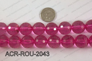 Acrylic Round 48cut faceted 20mm hot pink ACR-ROU-2043