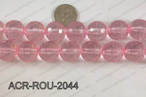 Acrylic Round 48cut faceted 20mm light pink ACR-ROU-2044