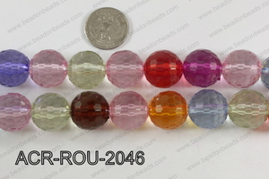 Acrylic Round 48cut faceted 20mm multi ACR-ROU-2046
