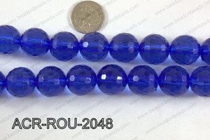 Acrylic Round 48cut faceted 20mm dark blue ACR-ROU-2048