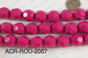 Acrylic Round faceted 20mm hot pink ACR-ROU-2057
