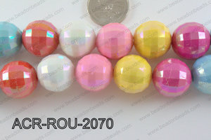 Acrylic Faceted Round Multicolor 20mm ACR-ROU-2070