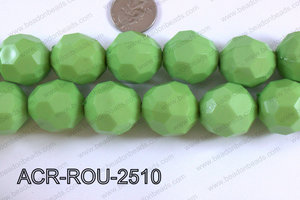 Acrylic Round faceted 25mm green  ACR-ROU-2510