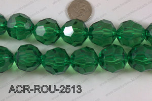 Acrylic Roud Faceted Green 25mm ACR-ROU-2513