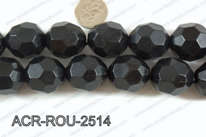 Acrylic Roud Faceted Black 25mm ACR-ROU-2514