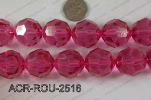 Acrylic Roud Faceted Hot Pink 25mm ACR-ROU-2516