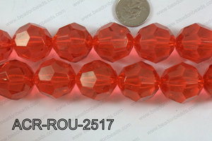Acrylic Roud Faceted Red 25mm ACR-ROU-2517