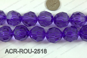 Acrylic Roud Faceted Purple 25mm ACR-ROU-2518