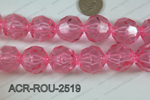 Acrylic Roud Faceted Pink 25mm ACR-ROU-2519