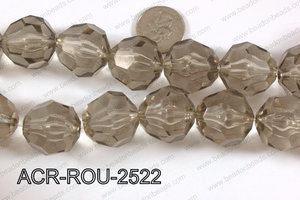 Acrylic Roud Faceted Grey 25mm ACR-ROU-2522