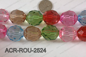 Acrylic Round Faceted Multicolor2 25mm ACR-ROU-2524