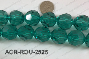 Acrylic Roud Faceted Emerald 25mm ACR-ROU-2525