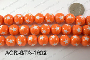 Acrylic Star Round Orange 16mm ACR-STA-1602