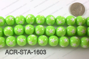 Acrylic Star Round Green 16mm ACR-STA-1603
