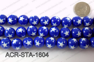 Acrylic Star Round Dark Blue 16mm ACR-STA-1604