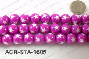 Acrylic Star Round Plum Purple 16mm ACR-STA-1605