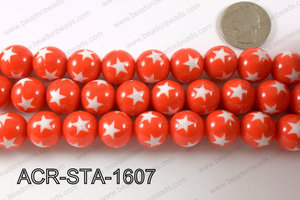 Acrylic Star Round Red 16mm ACR-STA-1607