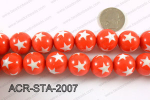 Acrylic Star Round Red 20mm ACR-STA-2007