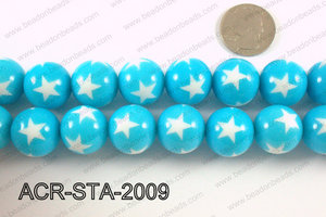 Acrylic Star Round Light blue 20mm ACR-STA-2009