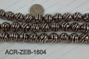 Acrylic Round Zebra 16mm brown ACR-ZEB-1604