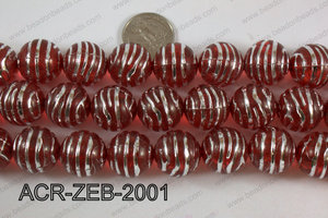 Acrylic Round Zebra 20mm red ACR-ZEB-2001