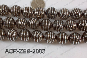 Acrylic Round Zebra 20mm brown ACR-ZEB-2003