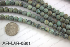 Large hole african turquoise matte round 8mm AFI-LAR-0801