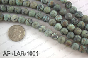 Large hole african turquoise matte round 10mm AFI-LAR-1001