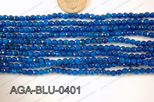Blue Agate Round Faceted 4mm AGA-BLU-0401