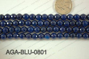 Blue Agate Round Faceted 8mm AGA-BLU-0801