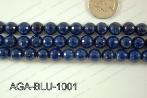 Blue Agate Round Faceted 10mm AGA-BLU-1001
