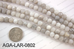Large hole white lace agate matte round 8mm AGA-LAR-0802