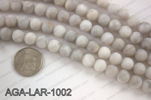Large hole white lace agate matte round 10mm AGA-LAR-1002